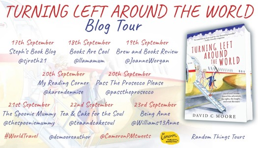Turning Left Around The World blog Tour poster